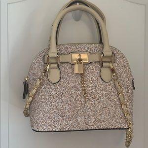 Mini silver sequin satchel purse